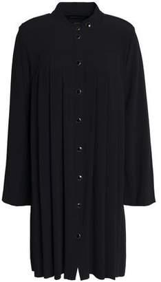 Vanessa Seward Pleated Crepe Mini Shirt Dress