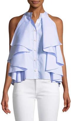 Caroline Constas Adrie Sleeveless Button-Front Striped Ruffled Blouse
