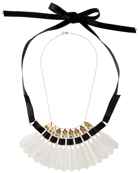 MIRIT WEINSTOCK - Feather and ribbon necklace