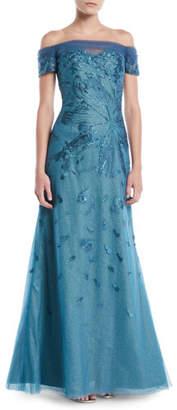 Rene Ruiz Off-Shoulder Gown w/ Metallic Flowers