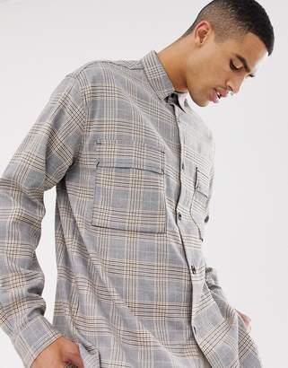 Mennace shirt in gray check