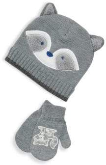 Little Me Baby's Raccoon Two-Piece Beanie & Mittens Set