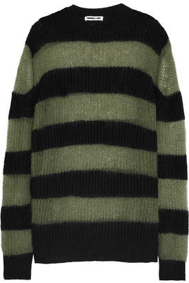 McQ Alexander McQueen - Oversized Striped Wool-blend Sweater Dress - Black $395 thestylecure.com