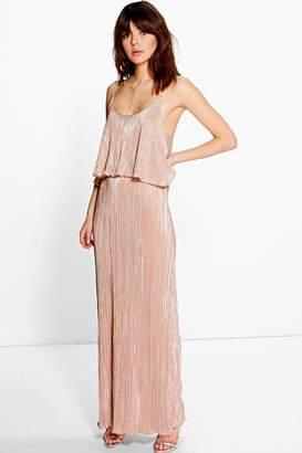 boohoo Tahnee Metallic Pleated Maxi Dress