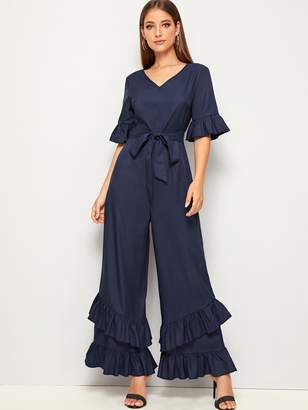 Shein V-neck Layered Ruffle Detail Belted Palazzo Jumpsuit