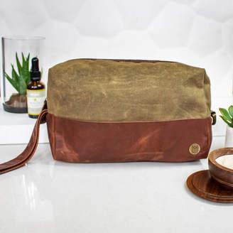 dbd23eb00802 MAHI Leather Personalised Green Canvas And Leather Wash Bag/Dopp Kit
