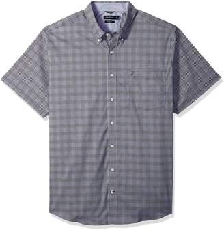 Nautica Men's Big Wrinkle Resistant Short Sleeve Plaid Button Down Shirt