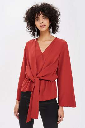 Topshop TALL Knot Front Drape Blouse
