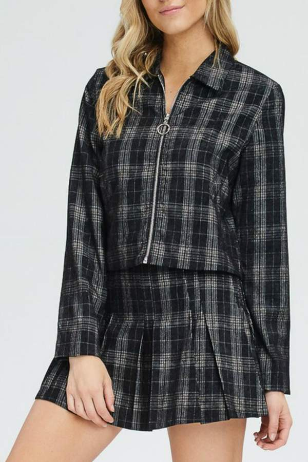 Emory Park Plaid Zip-Up Jacket