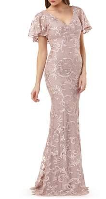 Carmen Marc Valvo Capelet Sleeve Evening Dress