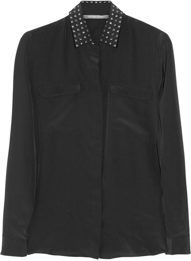 The Shirt Company Alina studded-collar silk shirt