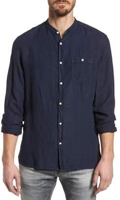 Woolrich Regular Fit Band Collar Linen Shirt