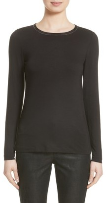 Women's Lafayette 148 New York Embellished Neck Long Sleeve Tee $198 thestylecure.com