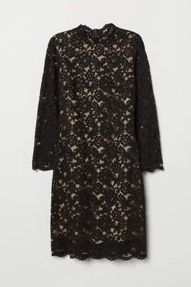 H&M Long-sleeved Lace Dress - Black