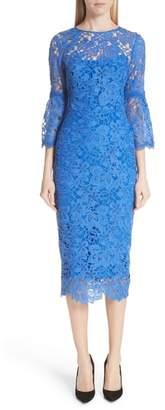 Lela Rose Flounce Sleeve Lace Sheath Dress