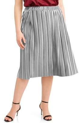 Faded Glory Women's Plus Pleated Velour Flowy Midi Skirt