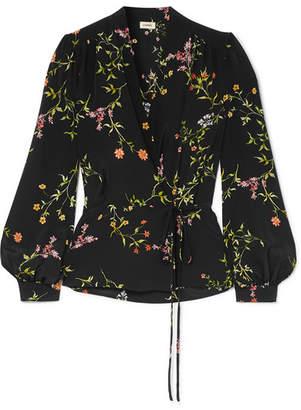 L'Agence Cara Floral-print Silk Crepe De Chine Wrap Blouse - Black