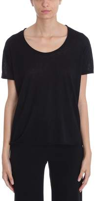 Theory Cashmere Black Double-trim Scoop Neck Tee