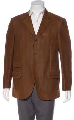 Brunello Cucinelli Leather Button-Up Jacket
