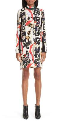 Burberry Zoya Graffiti Archive Print Silk & Wool Dress