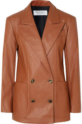 we11done - Double-breasted Faux Leather Blazer - Tan
