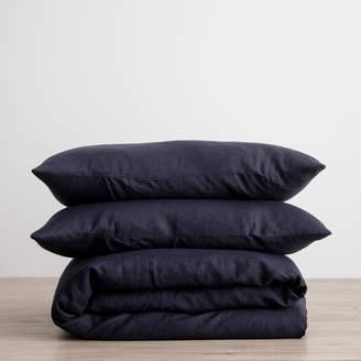 Lulu & Georgia Cultiver Linen Bedding, Navy Duvet Set