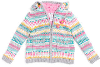 Toddler Girls Cardigan With Crochet Flowers