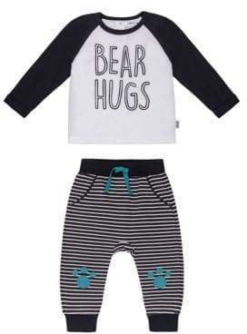 Petit Lem Baby Boy's Two-Piece Bear Hugs Raglan T-Shirt & Pants Set