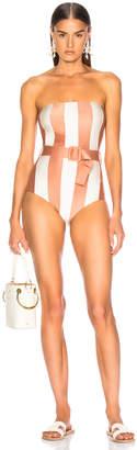 Adriana Degreas Porto Striped Strapless Swimsuit With Belt