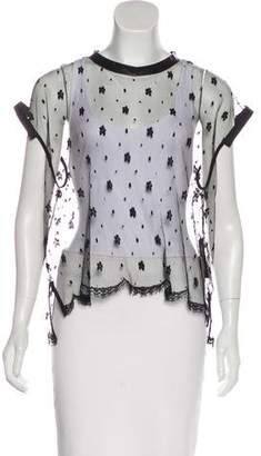 Ter Et Bantine Sheer Lace Short Sleeve Top