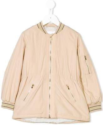 Chloé Kids metallic trim bomber jacket