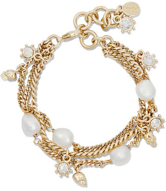 Alexander McQueen - Gold-plated, Pearl And Crystal Bracelet - one size $595 thestylecure.com