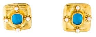 Elizabeth Locke 18K Glass & Pearl Venetian Intaglio Earrings