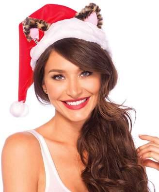 Leg Avenue Christmas Santa Kitty Plush Hat with Mini Bell Bow