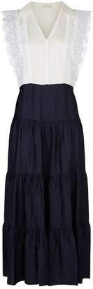 Sandro Lace Trim Midi Dress