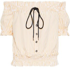 87de651bff9a6 Caroline Constas Peasant Off-the-shoulder Embellished Striped Cotton-poplin  Blouse