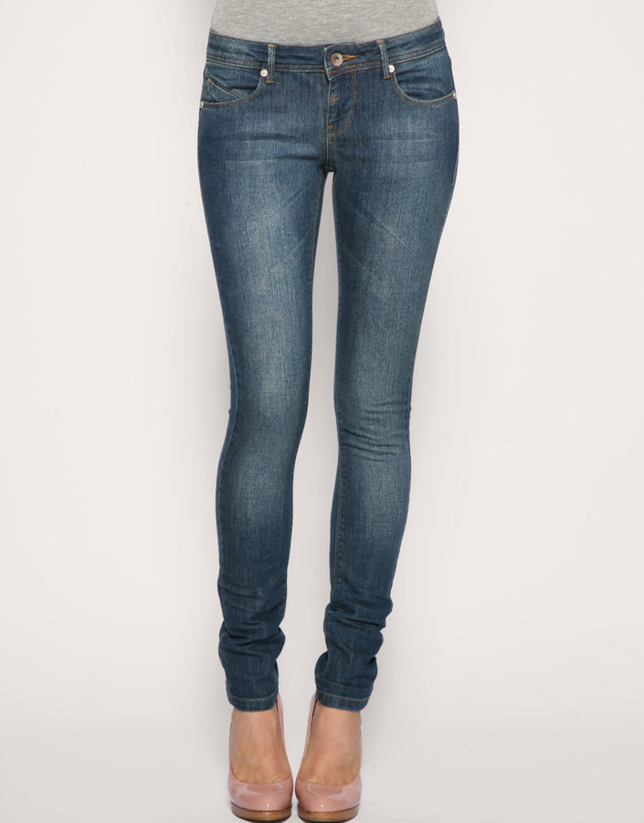 ASOS Mid Blue Blasted Iggy Jeans