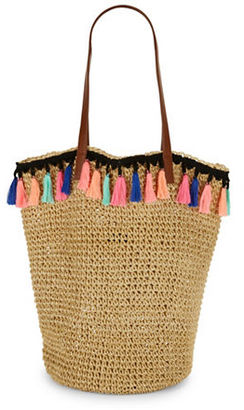 Lord & Taylor Tassel-Detailed Straw Tote $48 thestylecure.com
