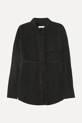 Equipment Signature Washed-silk Shirt - Black
