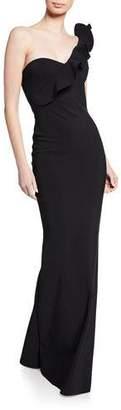 Chiara Boni Adrina One-Shoulder Asymmetric Shoulder-Ruffle Column Gown
