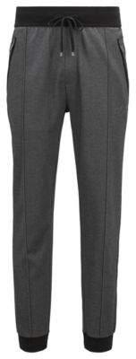 BOSS Hugo Loungewear pants in bicolored cotton-blend pique L Black