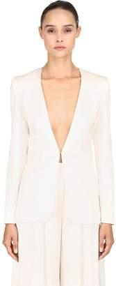 Silk Satin Blazer W/ Back Beaded Lace