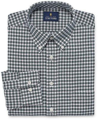 STAFFORD Stafford Travel Wrinkle Free Stretch Big And Tall Long Sleeve Oxford Plaid Dress Shirt