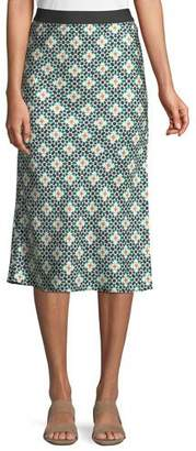 Theory Printed Silk Knee-Length Slip Skirt