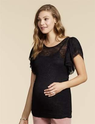 Jessica Simpson Motherhood Maternity Flutter Sleeve Maternity Top