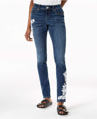 INC International Concepts I.N.C. Embroidered Skinny Jeans, Created for Macy's