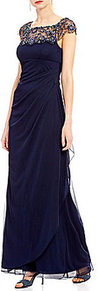 Xscape Beaded Illusion Neck Ruched Gown $218 thestylecure.com