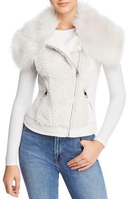 GUESS Posh Faux Fur & Faux Leather Vest
