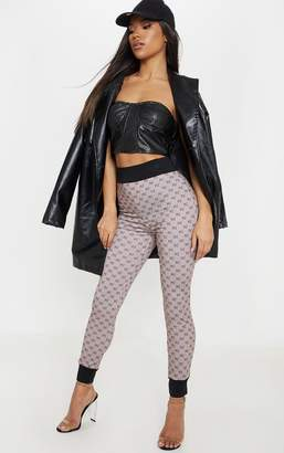 PrettyLittleThing Taupe Contrast Waistband Legging