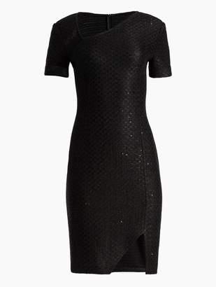 St. John Shimmer Sequin Knit Asymmetrical Dress